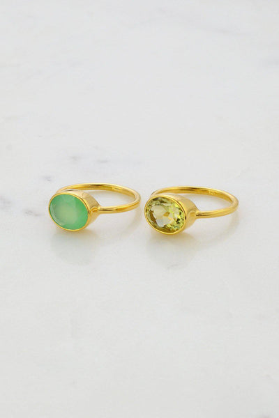 Lemon Quartz Ring - Gemstone rings - November Birthstone - Stackable Gold Ring - Real Gemstone Ring - Oval Stone Ring