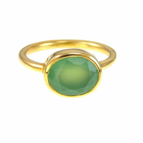 Chrysoprase Ring - Gemstone Ring - Stackable Ring - Gold Ring - Oval Ring - Bridesmaid Jewelry - Gemstone rings
