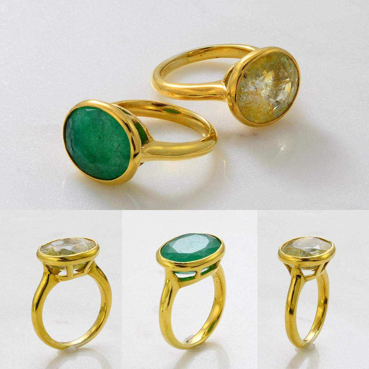 Gemstone ring - Gems Ring - Emerald Ring - Sapphire Gemstone Ring - Stackable Ring - Gold Ring - Oval Ring - Gemstone Ring - Set of 2 Rings