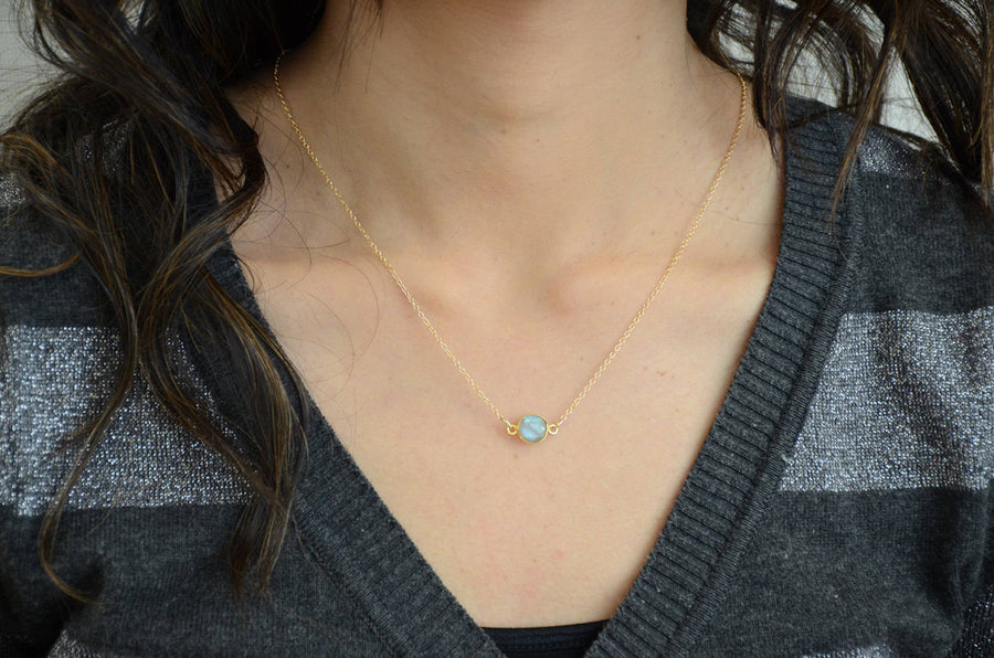 Dainty Necklace, Gold Delicate necklace, Gold filled Sterling Silver, Round Elegant Jewelry, Delicate Thin Gemstone Necklace, Tiny Gem