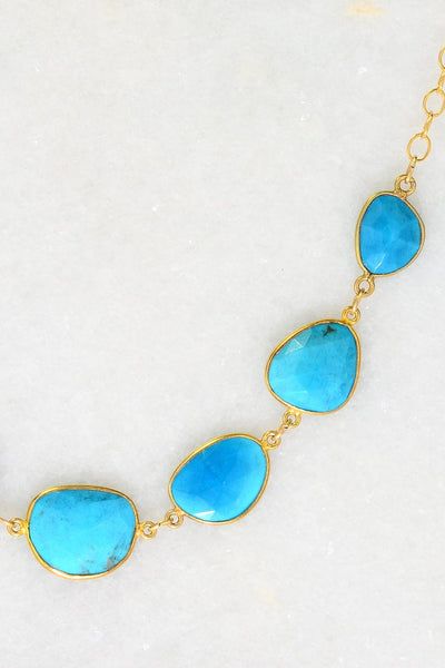 Turquoise Necklace, Bezel Necklaces, Gold Gemstone Necklace, Wedding Necklace, Irregular Necklace, Bridal Gift, Gemstone Connectors Necklace