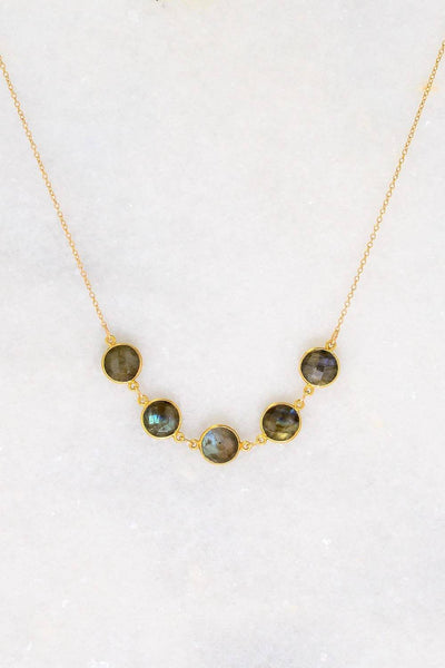 Labradorite Necklace - Bezel set Necklace - Gemstone Necklace - Mother's Necklace - Gift for mom - Bridesmaid Gift