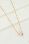 Solitaire Diamond Necklace - Dainty Solitaire - Delicate Solitaire - Floating Diamond - Rose gold - CZ Solitaire Necklace - Round diamond