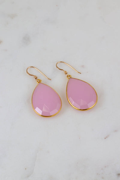 Pink Chalcedony Earring, Bridal Earring, Teardrop Gemstone Earring, Gold Framed Simple Earring, Everyday Earring, Silver, Bridesmaid Gift