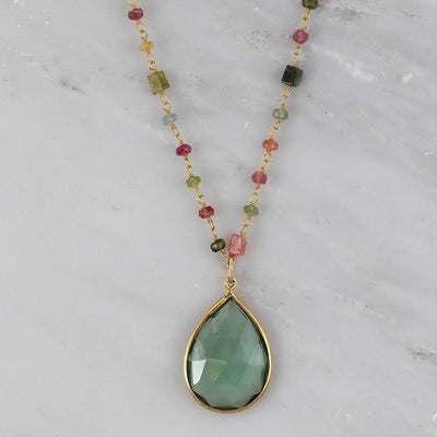 Multi tourmaline Wire Wrapped Necklace, Green Amethyst Teardrop Bezel Pendent Necklace, Large gemstone Necklace, Mommy Gift, Simple Necklace