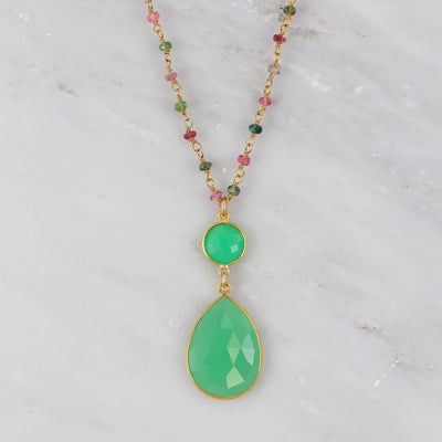 Chrysoprase Necklace, Multi Tourmaline Necklace, Green Teardrop Pendent Necklace, Gold Wire Wrapped Chain Necklace, Large Gemstone Necklace