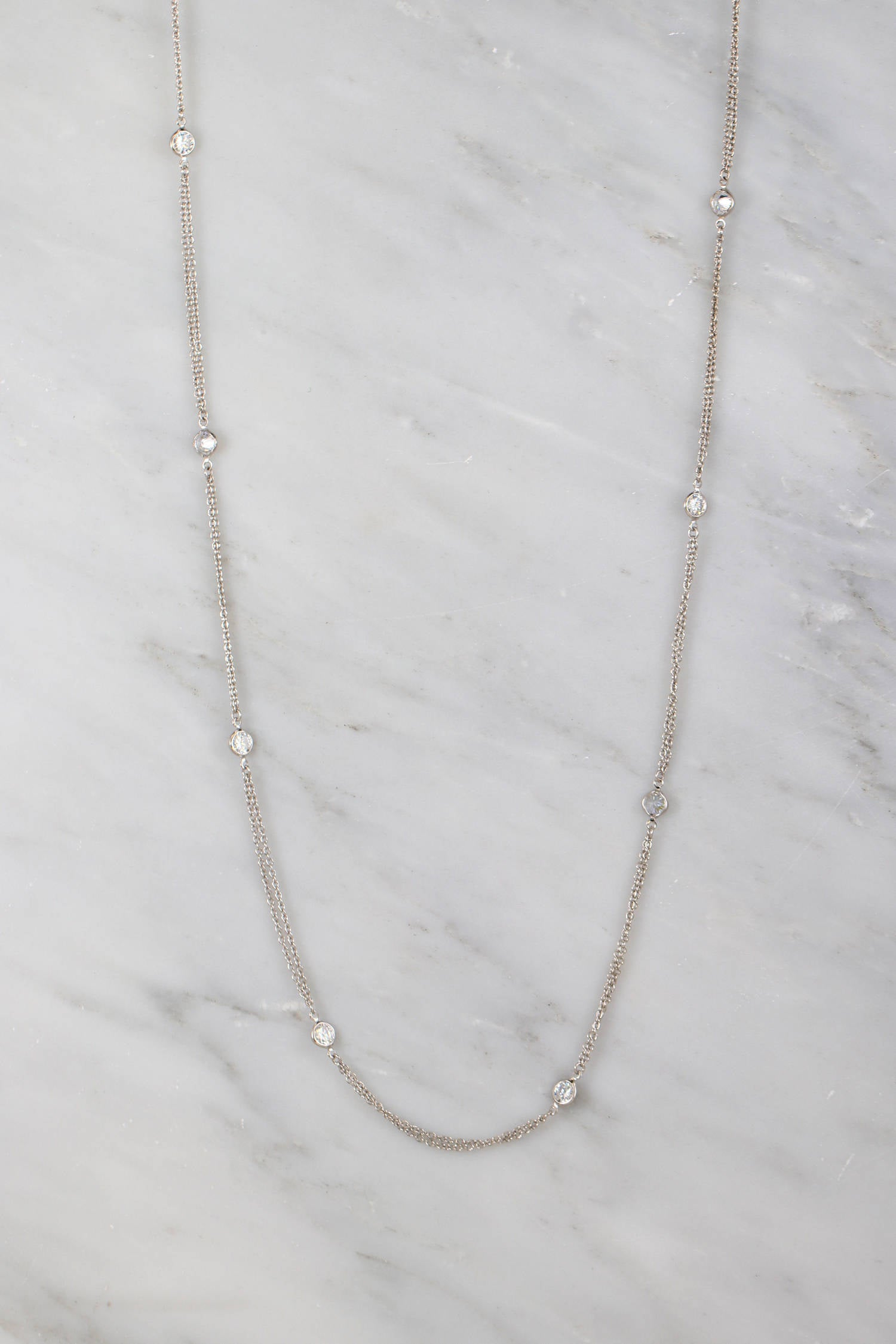 Sterling Silver Necklace, Multi Layered Necklace, Clear Quartz Long Chain Necklace, Crystal Quartz Necklace, Perfect Necklace for Summer