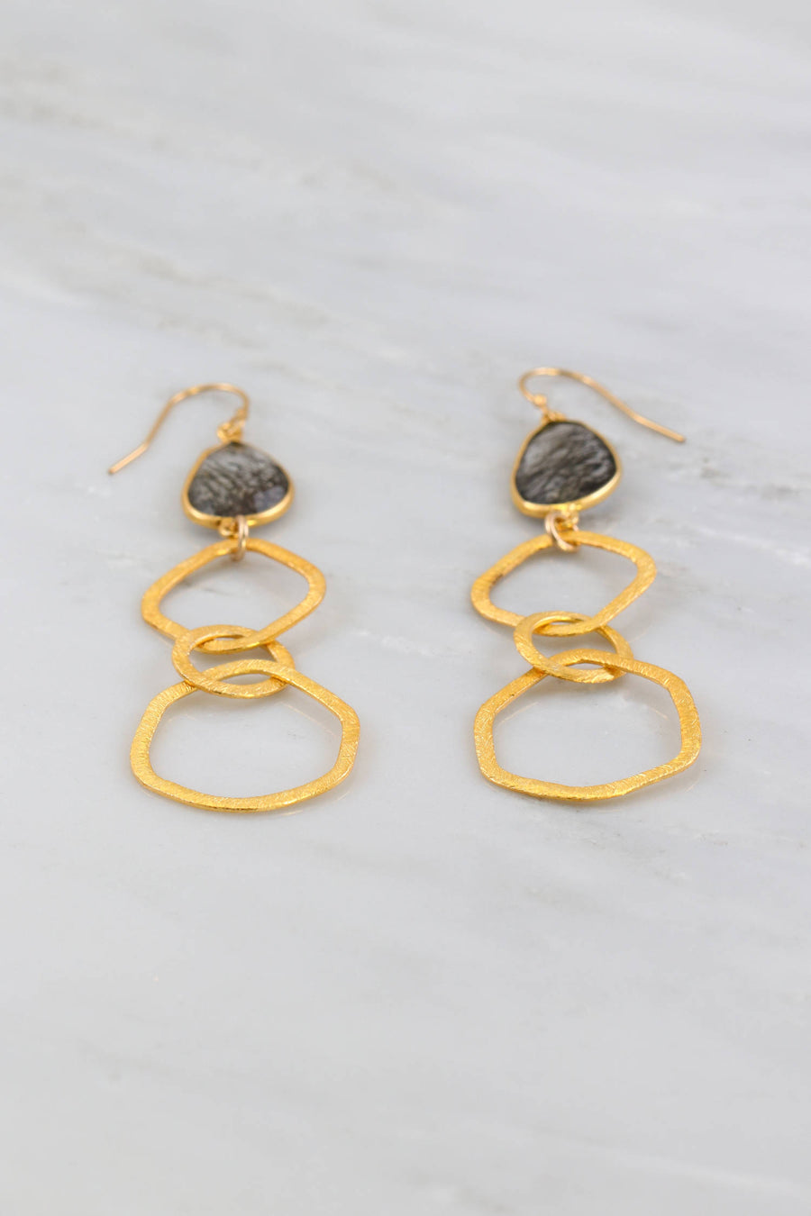 Long linked earring, Three Round link earrings, Loop Earring, Brushed metal earring, Gold link earring Dangle and drop Textured earring