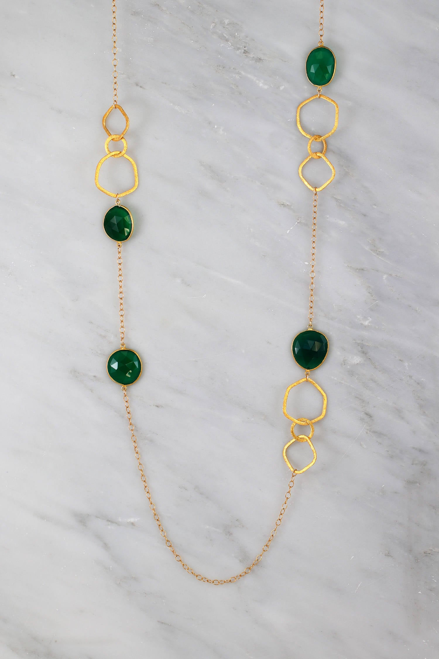 Designers Necklace Green Emerald Gemstone Necklace, Station Long Bezel Set Necklace, Green Onyx Gold Necklace, Long Layered Necklace
