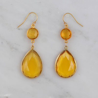 Citrine Earring, Two tier earring, Double Drop earring, November Birthstone Gemstone Earrings, Bridesmaid Bridal Earrings Sterling Silver