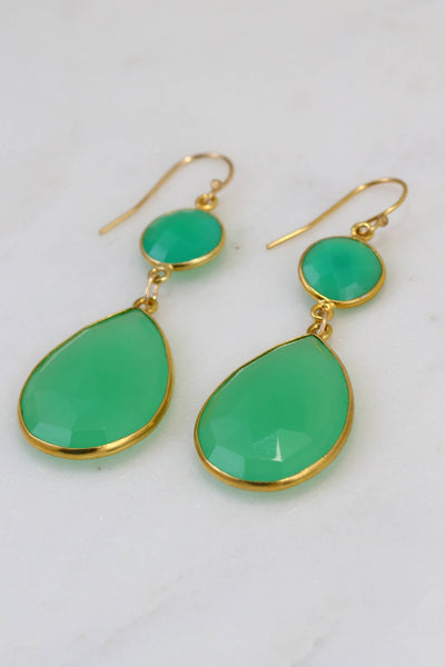 Chrysoprase Earring, Two Tier Earring, Green Gemstone Earring, Gold filled wires Earring, Large Gemstone Earring, Elegant Statement Earring