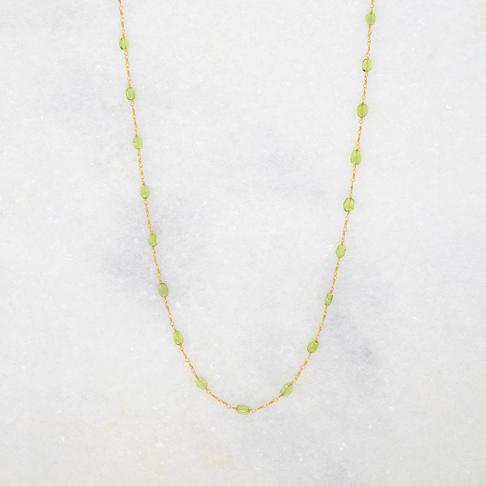 Peridot Necklace - Wire Wrapped Necklace - Gemstone Necklace - Custom Necklace - Layered Necklace- Mother's Day gift