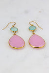 Pink Chalcedony Earring, Aqua Chalcedony, Two Tier Earring, Gold filled wires Earring, Large Gemstone Earring, Elegant Statement Earring