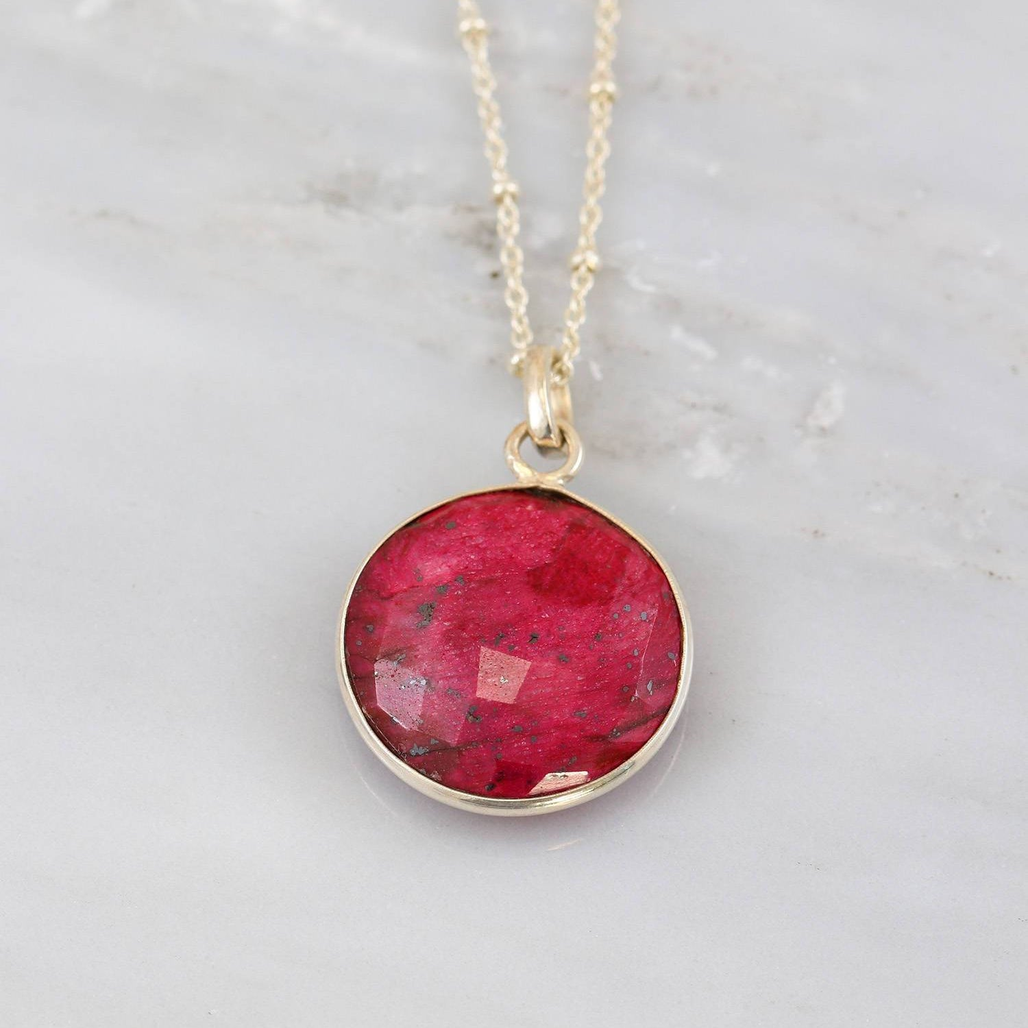 Ruby Necklace, Dyed Ruby Silver Necklace, Sterling Silver Pendent Necklace, Round Pendent Necklace, Birthstone Necklace, July Birthstone