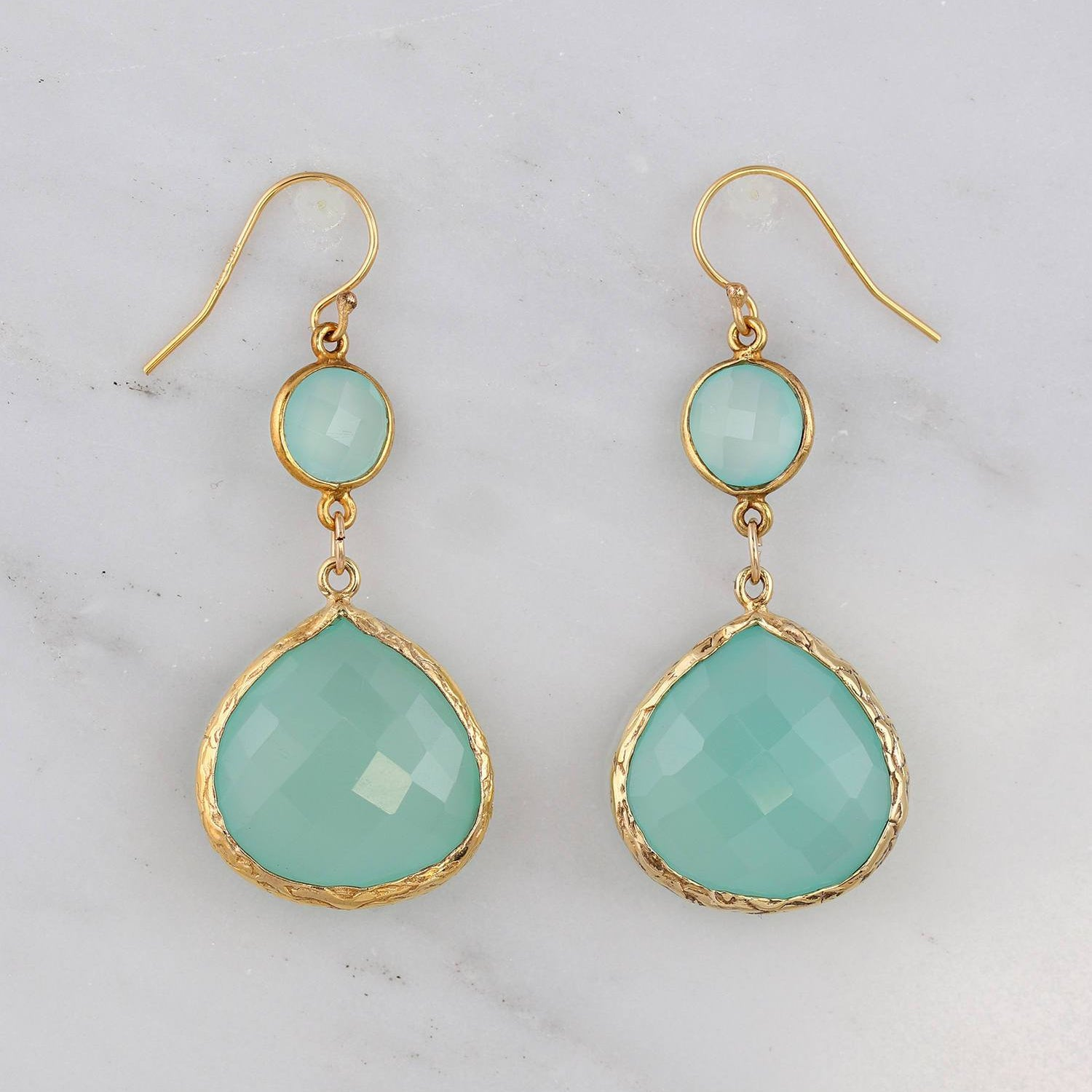 Aqua Chalcedony Earrings, Double drop Earring, Sea Blue Earrings, Gold filled Wire Earrings, Modern Look Earrings, Textured Framed Earrings