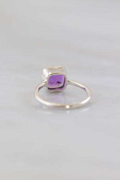 February birthstone ring, Birthstone Stackable rings, Purple Amethyst ring, Amethyst ring, Everyday ring, Simple Silver ring, Ring gift