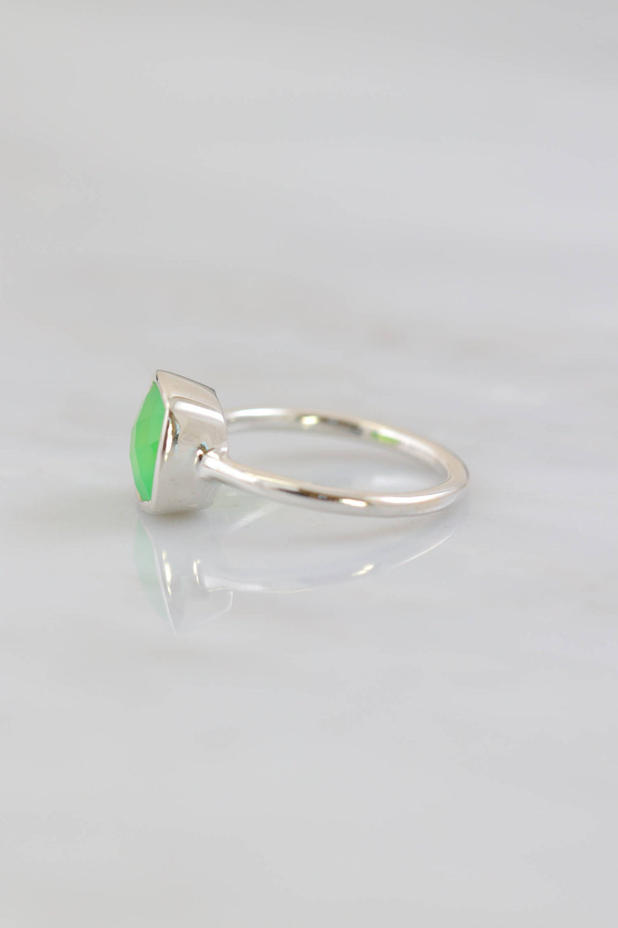 Chrysoprase Ring, Cushion Cut Ring, Sterling Silver Ring, Everyday Ring, Simple ring, Stacking ring, Bezel set ring, Faceted Cushion Ring