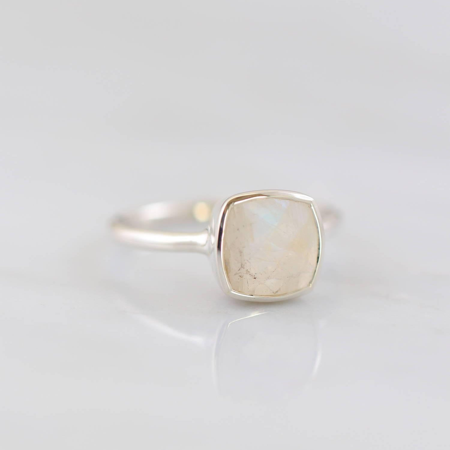Moonstone Ring, Rainbow moonstone ring, Square ring, June Birthstone ring, Sterling silver Jewelry, Bezel set ring, Valentine's Gift for her