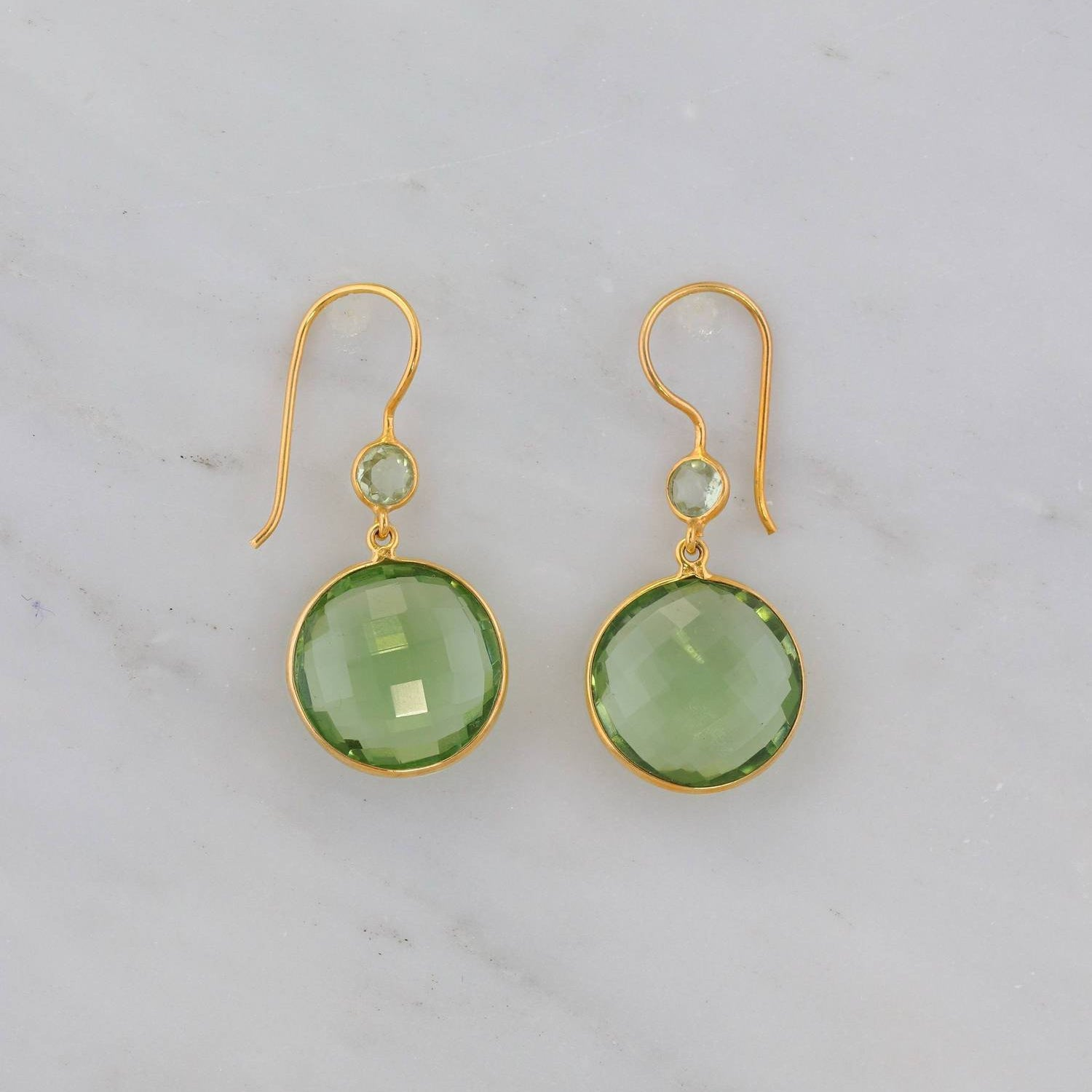 Green Amethyst Earring, Amethyst Earring, Circle Gemstone Earring, Round Bezel Earring, Perfect gift for Christmas, Mama gift, Gold Earring