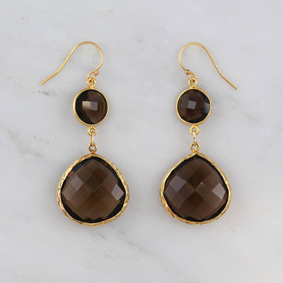 Smoky Earring, Two tier Earring, Double drop Statement, Gold Earring, Silver Earring, Silver Framed Earring, Brown Gemstone Earring