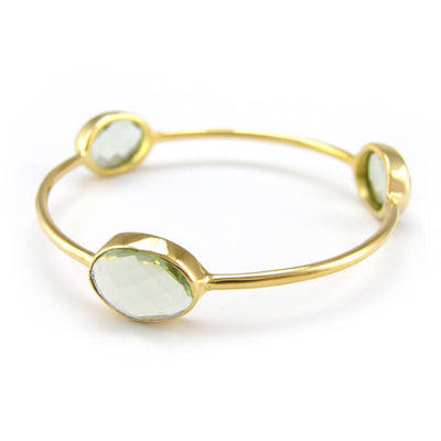 Green Amethyst - Stacking Bangles - Three stones Bangle -  Stackable Bangle - Gemstone Bangle Bracelet - Stacker Bangle - Green Bangle