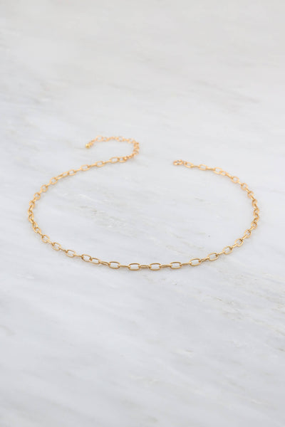 Gold Choker Necklace, Link Choker, Texture Gold Choker, Chain Choker Necklace, Gold Filled Choker, Simple Gold Choker, Layering Choker