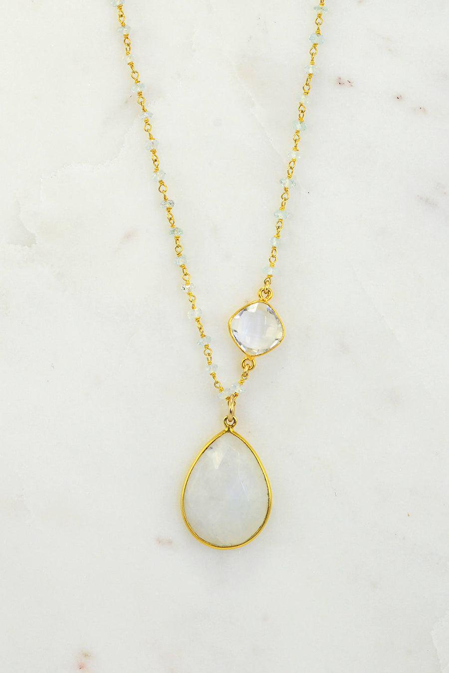 Moonstone Necklace - Aqua Chalcedonyn Wire Wrapped Necklac -Gemstone Necklace - Bezel Set Necklace - Teardrop Necklace - Mommy Necklace