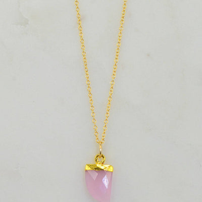Pink Chalcedony Necklace - Gemstone tooth Necklace - Mothers day gift - Minimalist Necklace - Cute Layering Gold Necklace