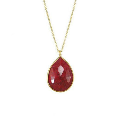 14k Gold Ruby Necklace - Gemstone Charm Necklace - Simple Gemstone Necklace - Bezel Set Necklace - Bridal Jewelry - Bridesmaid Necklace