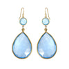 Gift for her - Aquamarine Blue Earring - Statement Earring - Gold Drop Earring - Drop Earring - Double Tier Earring - Long Dangle Earring
