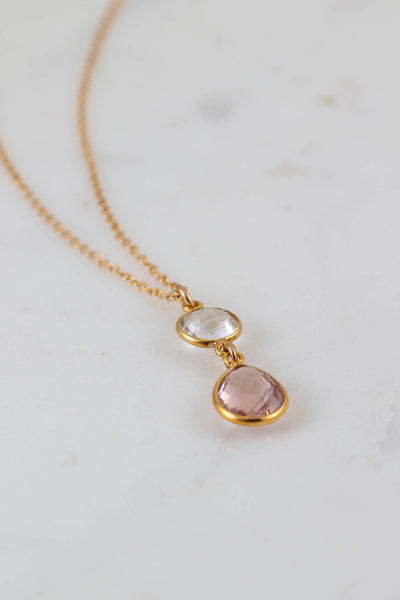 Blush Bridesmaid Necklace,  Bridesmaid Gift,   Morganite Delicate Necklace, Peach Blush, Wedding Blush Necklace, Simple Necklace