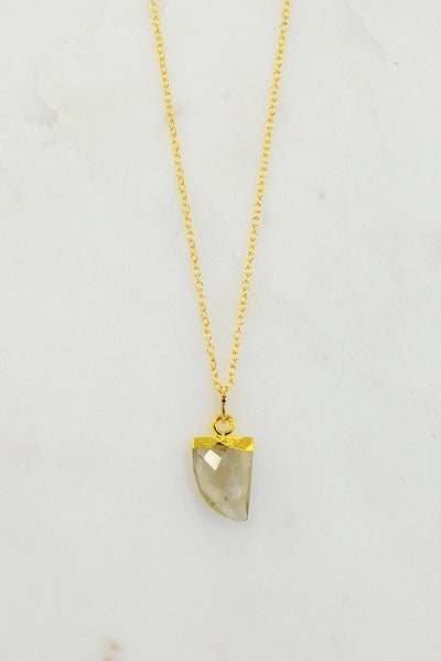 Gemstone tooth Necklace - Cute Layering Gold Necklace - Solitaire Gemstone Necklace -Rutilated Quartz Necklace Silver - Minimalist Necklace