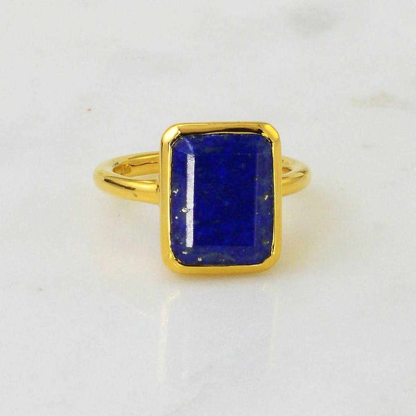 Navy blue ring Lapis Ring September Birthstone Ring Gold Ring Sterling silver Gemstone Dark Blue Lapis Lazuli Stacking Emerald Cut ring