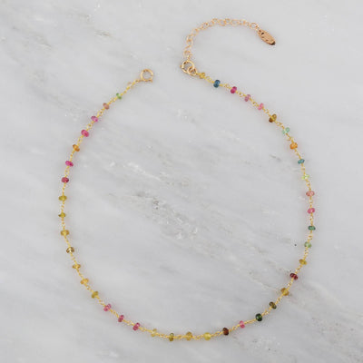 Multi Tourmaline Necklace, Choker Necklace, Wire Wrapped Choker, Gold Choker Necklace, Gold Filled Choker, Gemstone Wrapped Chain Necklace