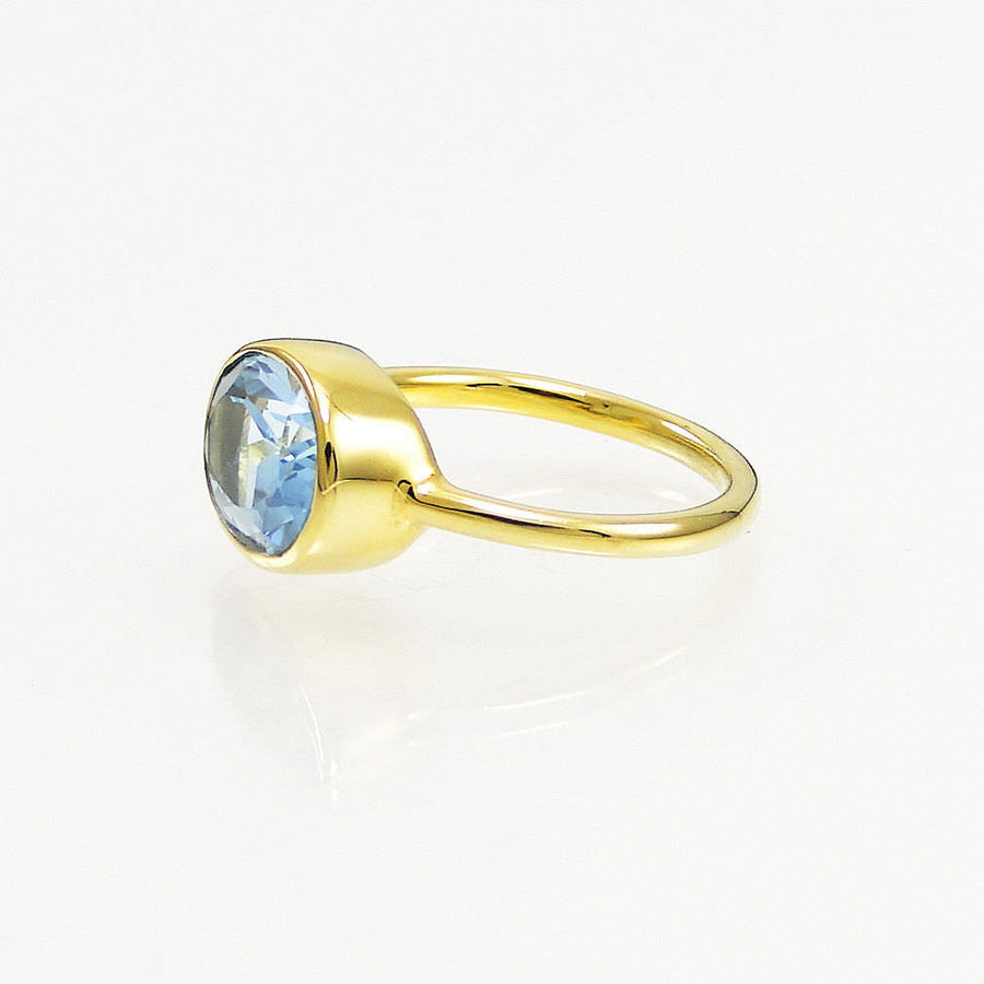 Aquamarine ring, March birthstone ring, Natural stone ring, Gold and Silver ring, Natural topaz ring, Blue crystal ring, Solitaire oval Ring