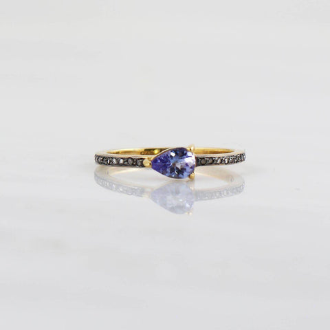 Tanzanite ring, Delicate diamond ring, Black Rhodium Diamond ring, Dainty Gold diamond ring,Natural Tanzanite Stackable ring, mini gemstone
