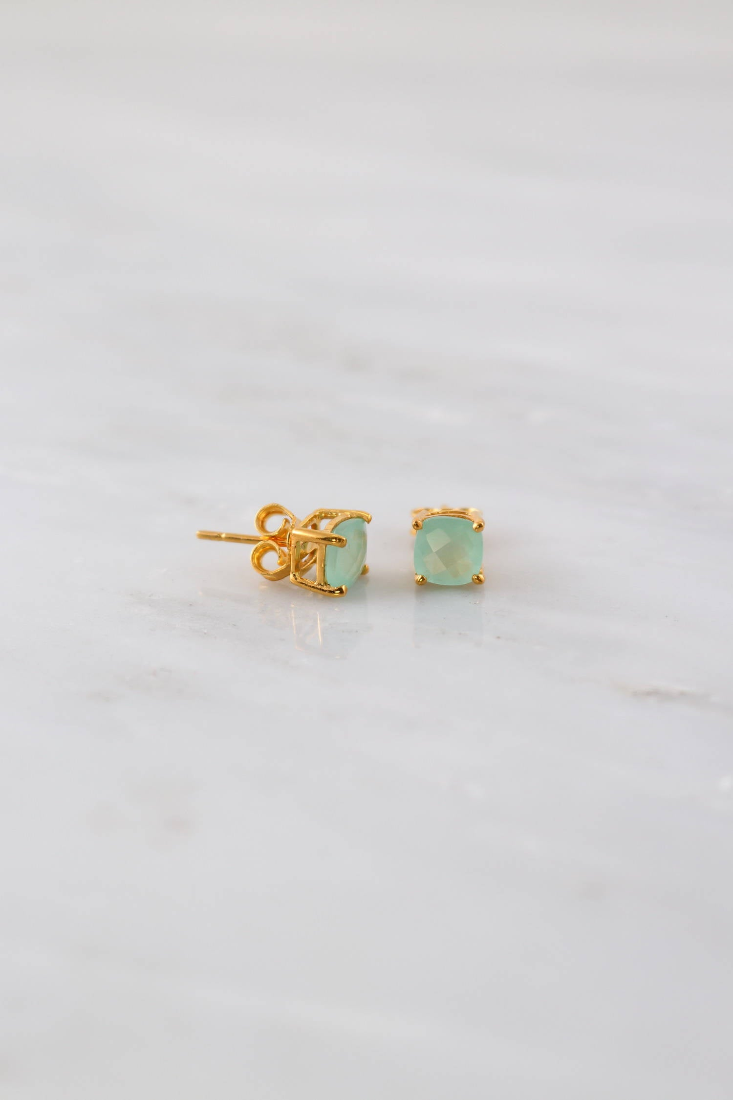 Aqua Chalcedony Stud Earring, Gold Post Earring, Gemstone Stud, Sea Green Gemstone Stud, Prongs Set stud, Cute Gift for her, Chalcedony Stud