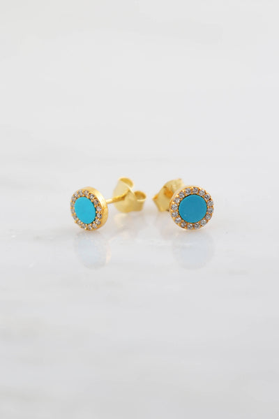 Turquoise Studs, Round studs, Hypoallergenic earring, Post Studs, Tiny Studs, Gold Studs, Cute gift for sister, Very tiny studs