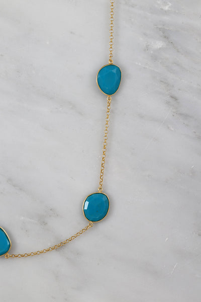Turquoise Necklace, Turquoise Long Necklace, Designers Layered Necklace, Gold Necklace, Sterling Silver Necklace, Valentine's Gift for Wife