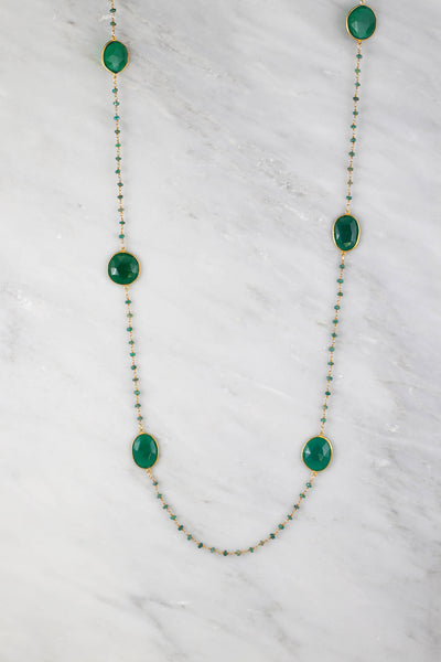 Christmas Gift, Designer Long Necklace, Emerald Necklace, Green Onyx Necklace, Long Station Necklace, Statement Necklace, Layering Necklace