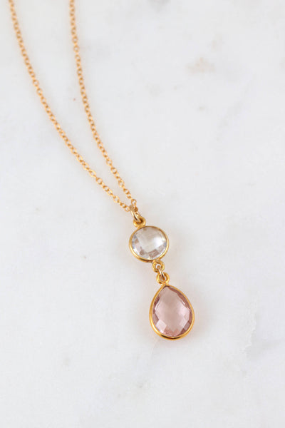 Blush Bridesmaid Necklace, Morganite Delicate Necklace, Clear Quartz Necklace, Peach Blush, Wedding Blush Necklace, Bridesmaid Gift