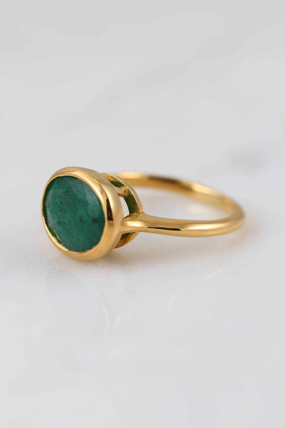 Gemstone ring, Gems Ring, Green Sapphire Green Emerald Gemstone Ring, Custom Gold Stackable Ring, Gold Ring, Oval Ring