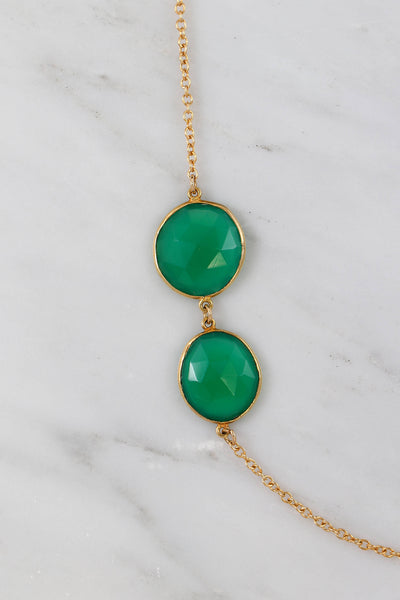 Green Onyx Necklace, Emerald Long Gemstone Necklace, Simple Designer Necklace, Green Stone Necklace, Station Necklace, Bezel Set Necklace