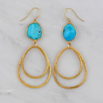 Gold Dangle Earring, Brushed Teardrop Earring, Turquoise Earring, Silver Gemstone Earring, Sisters Gift, Sterling Silver Dangling Earring
