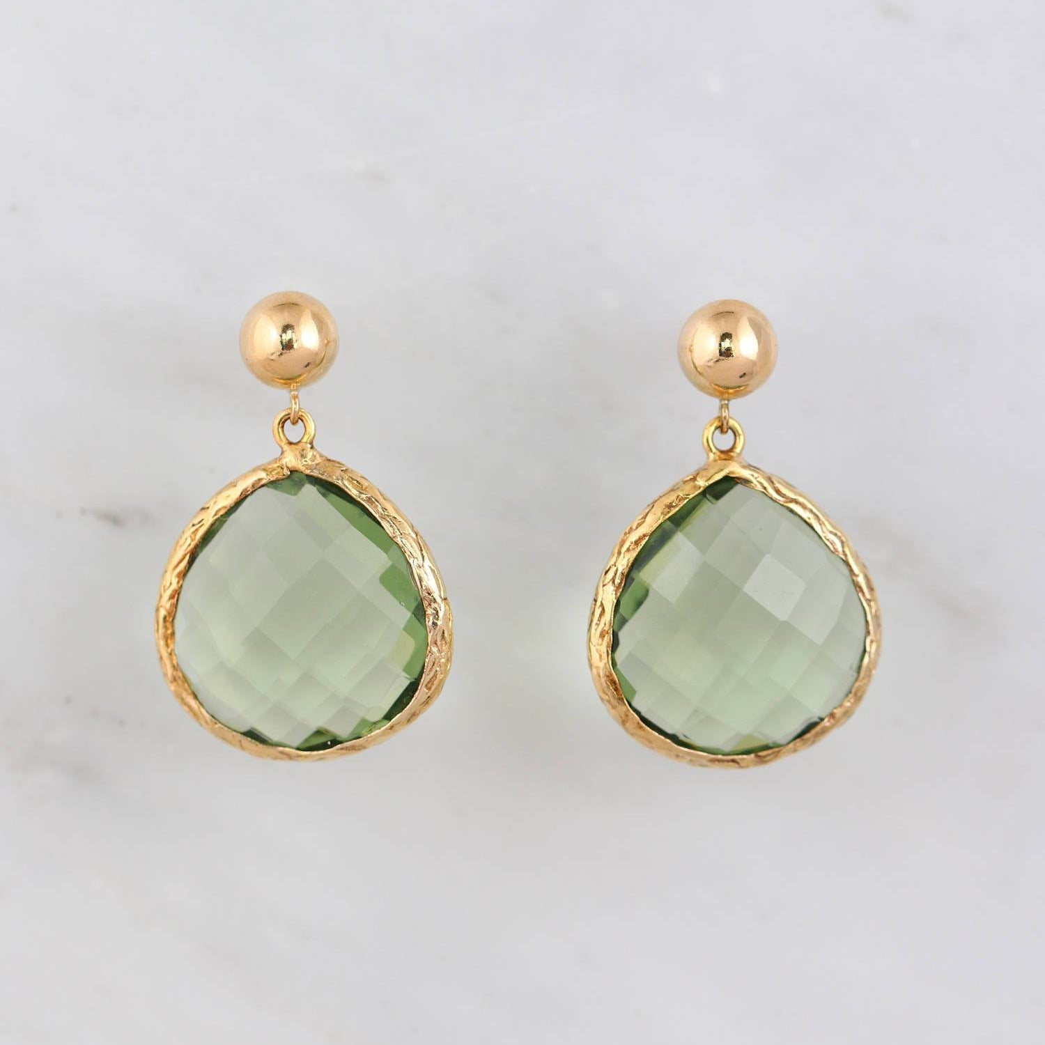 b0674ff1d Pear Shape Earring, Gemstone Earring, Green Amethyst, Natural Stone,  Elegant Textured Earrings