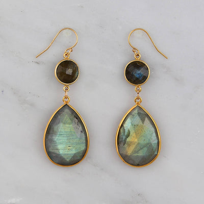 Labradorite Earrings, Gold Drop Earring, Tear drop Earring, Statement Dangling Earring, Formal Earring, Long Dangle Earring, Bridesmaid Gift