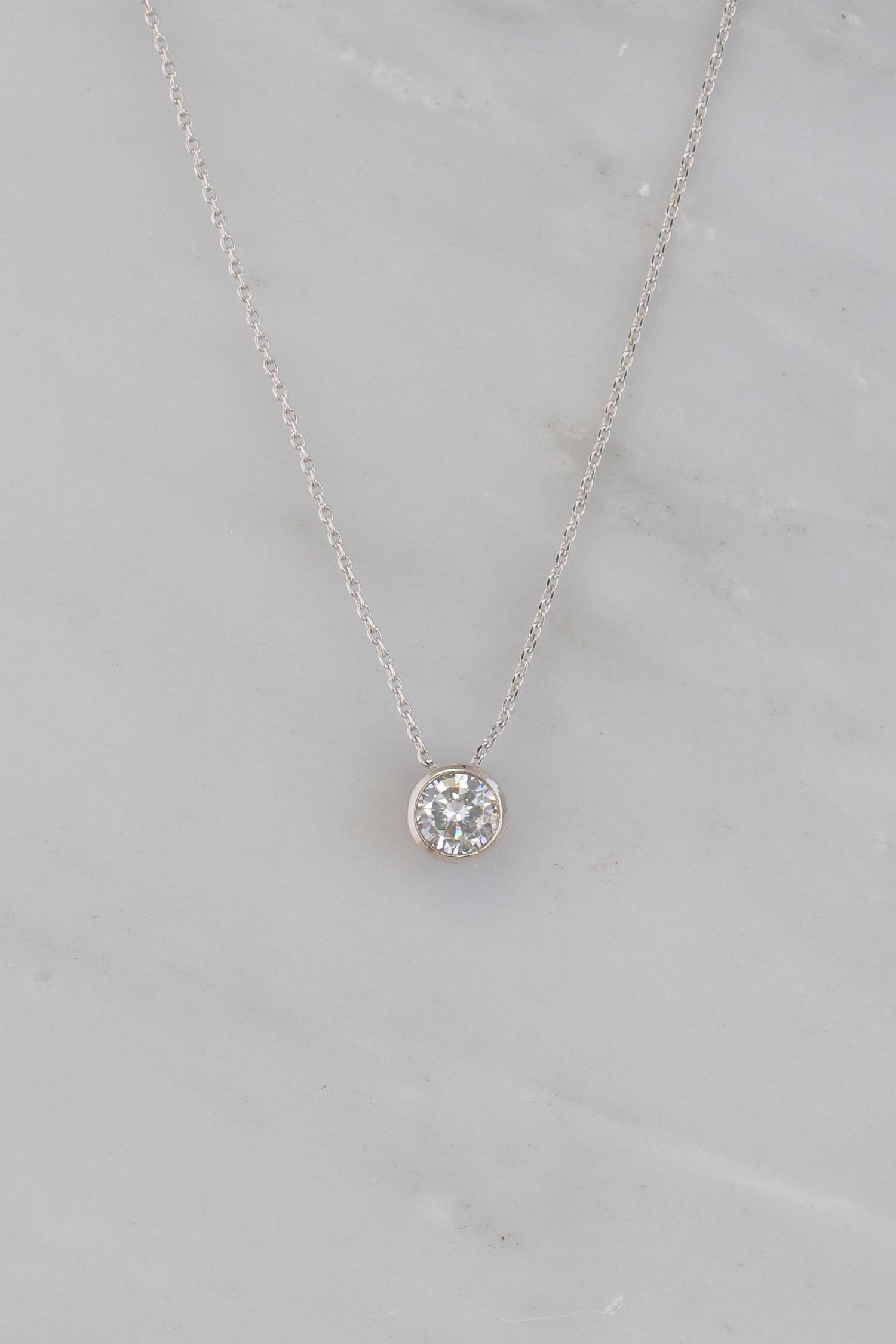 Solitaire Diamond Necklace - Dainty Solitaire - Delicate Solitaire - Floating Diamond - Silver Chain - CZ Solitaire Necklace - Round diamond