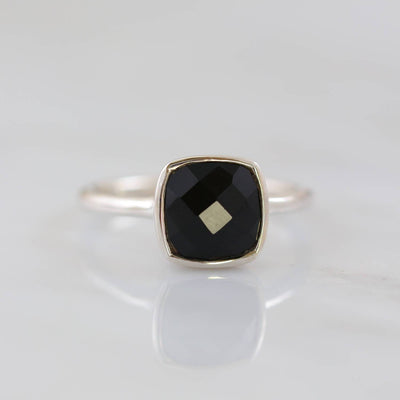 Black onyx Ring, Onyx Ring, Onyx Stackable rings, Stacker Rings, Faceted Gemstone rings, Mother's gifts, Bezel rings, Gold and Silver Rings