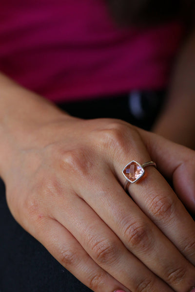 Blush Ring Jewelry, Morganite Ring, Wedding Ring, Bridal ring, Natural stone silver ring, Bridesmaid ring, Cushion ring, Faceted stone Ring