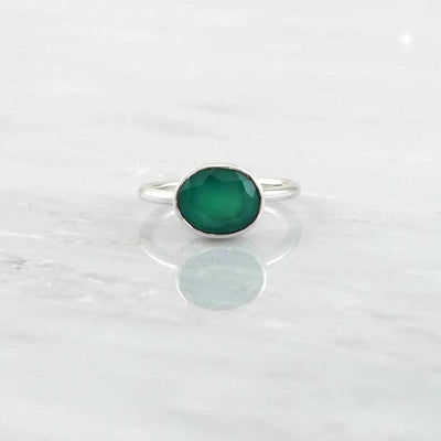 Faceted Ring, Sterling Silver Ring, Green Onyx Ring, Birthstone Ring, Genuine Gemstone Ring, Valentine's Gift for her, Oval Stacking Ring